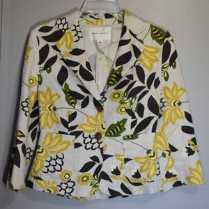 100% Linen Tropical Floral Print Blazer Size 0